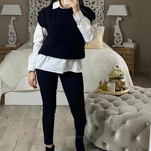 pull en laine sans manche noir nassy noir
